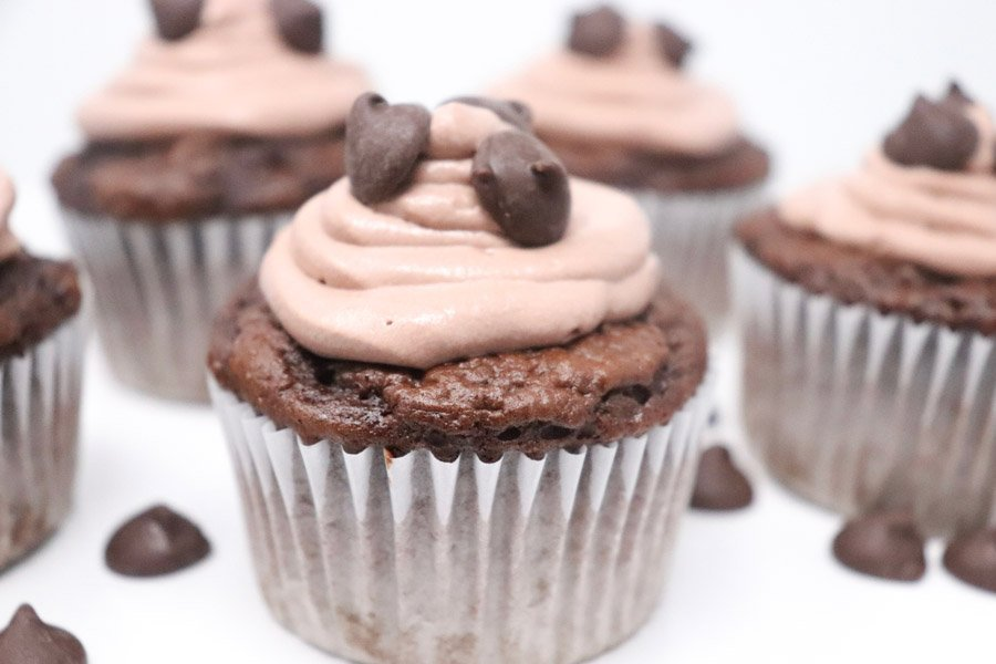 chocolate cupcake with chocolate whipped frosting