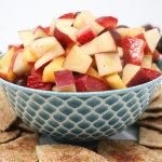 fruit salad with cinnamon sugar chips