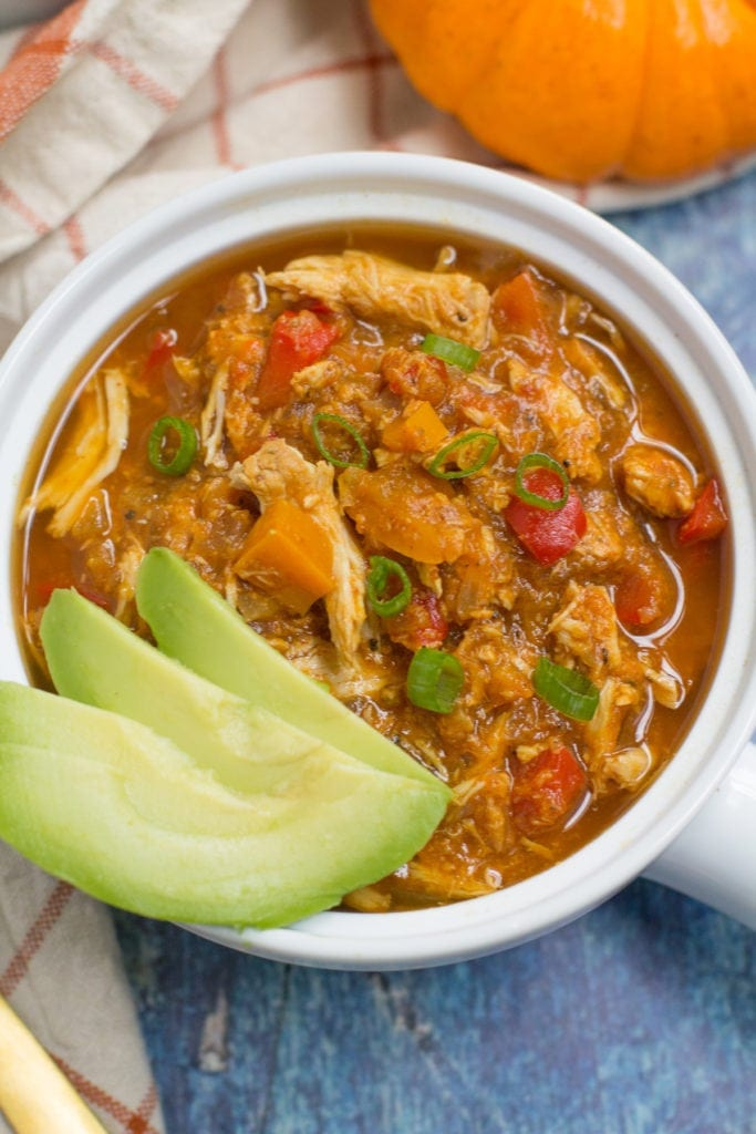 Paleo Crockpot Pumpkin Chicken Chili