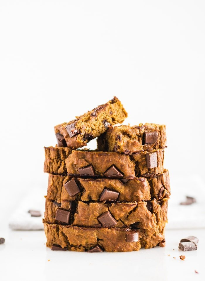 Healthy Chocolate Chunk Banana Pumpkin Bread