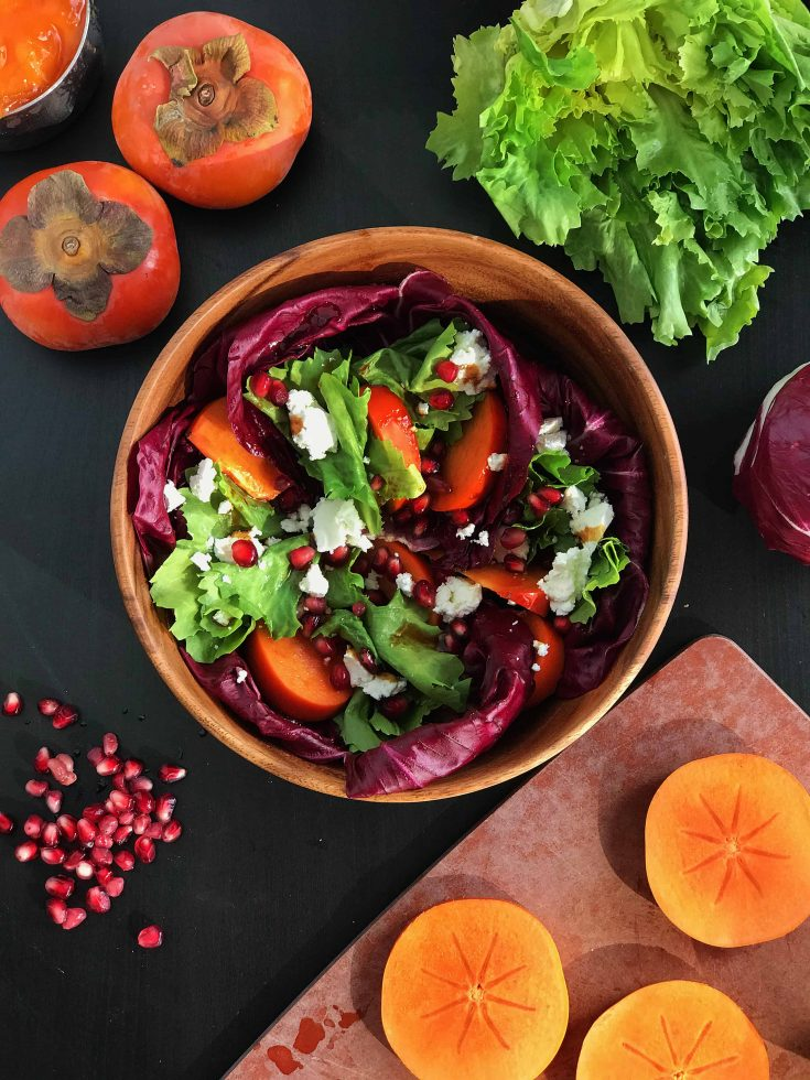 Persimmon & Goat Cheese Salad with Radicchio & Pomegranate Molasses Vinaigrette - Vegetarian