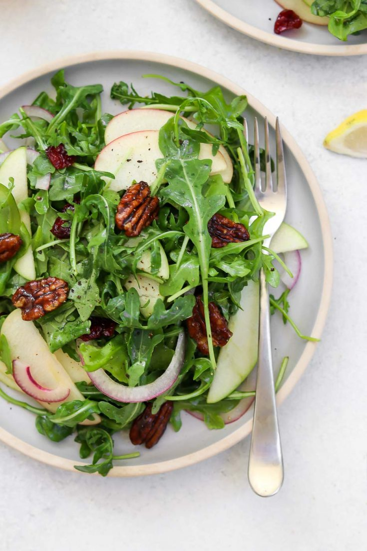 Apple Arugula Salad with Candied Pecans - Gluten-Free, Dairy-Free
