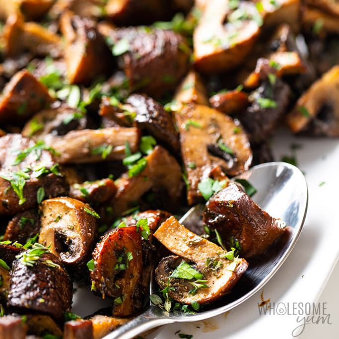 Oven Roasted Mushrooms with Balsamic, Garlic and Herbs - Keto, Vegetarian