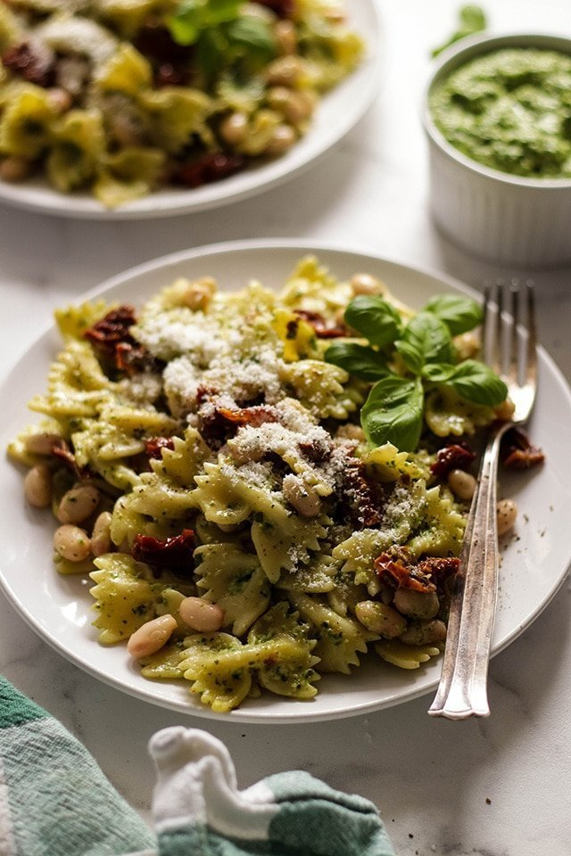Vegan Pesto Pasta with Beans and Sun-Dried Tomatoes