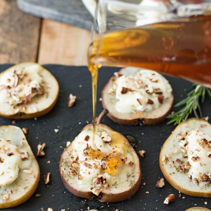 Baked Pears with Chevrot Goat Cheese, Honey & Pecans