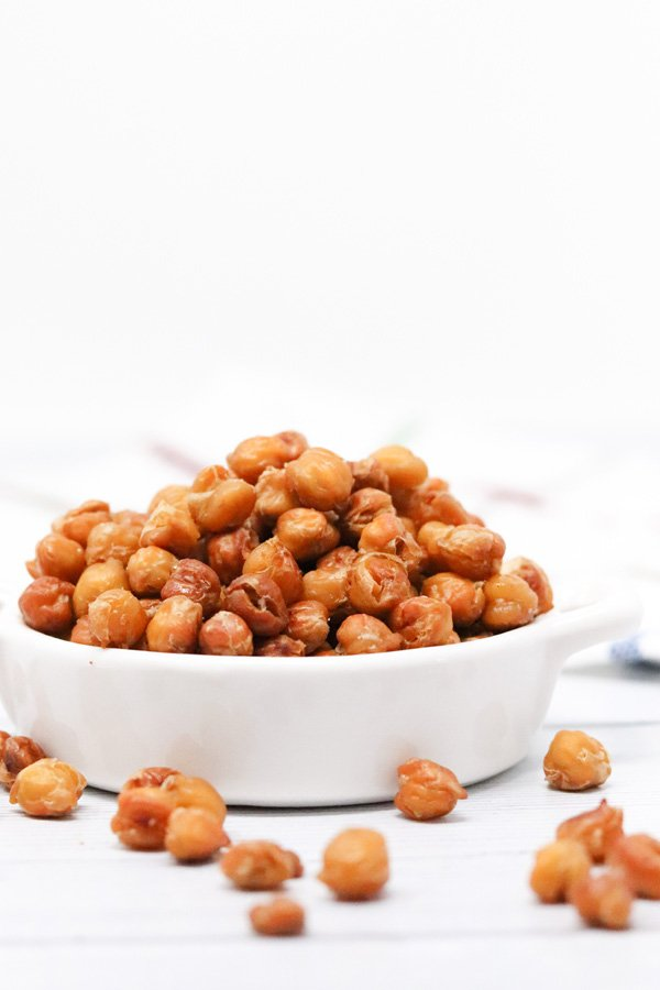 crispy chickpeas in a white dish side view
