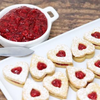 Heart Shaped Linzer Cookies with homemade raspberry jam