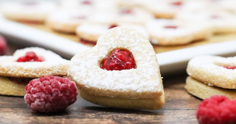 Heart Shaped Linzer Cookies With Raspberry Jam