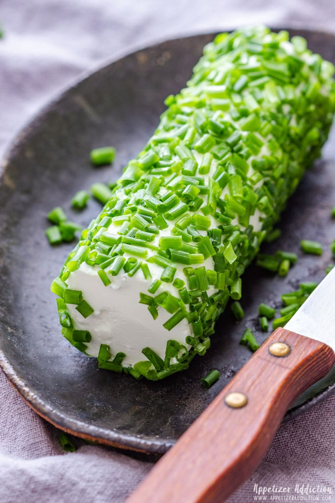Homemade Goat Cheese Log with Chives