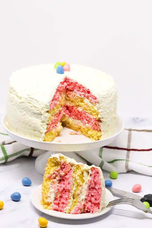 Layered strawberry lemon cake