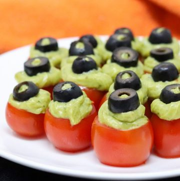 spooky guacamole cherry tomatoes