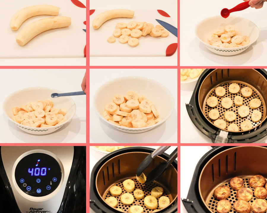 air fryer sweet plantain process pictures