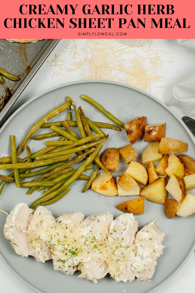 Creamy Garlic Herb Chicken Sheet Pan Meal pin