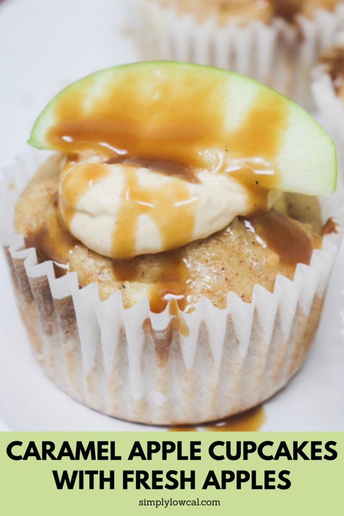 caramel apple cupcakes with fresh apples pin
